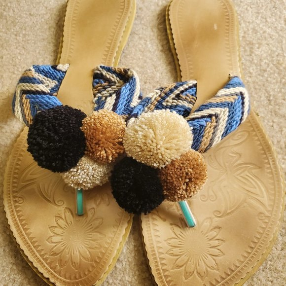 Koko Katico Pom Pom Embroidered Sandals/Flip Flop